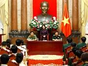 国家副主席邓氏玉盛会见人民公安和人民军工会典范会员