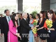 越共中央总书记阮富仲造访越南驻缅大使馆