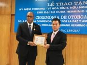 """越南授予古巴驻越大使""""致力于各民族和平与友谊""""纪念章"""