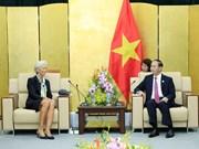 越南国家主席陈大光会见国际货币基金组织总裁克里斯蒂娜•拉加德