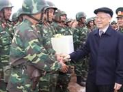越共中央总书记阮富仲来到第一区国家射击场调研视察