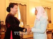 越南国会主席阮氏金银会见新加坡共和国总统哈莉玛·雅各布