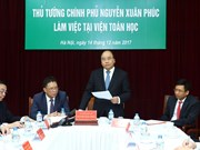 阮春福总理与越南数学研究院领导举行工作会议