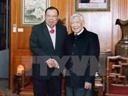 老挝领导拜访原越共中央总书记黎可漂和农德孟