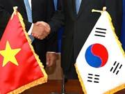 越韩领导人互致贺电庆祝两国建交25周年
