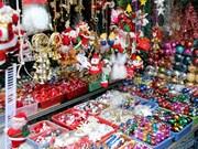 河内圣诞装饰品市场热闹不断