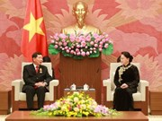 国会主席阮氏金银会见老挝最高人民法院院长坎潘·西提丹帕
