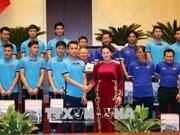 越南国会主席阮氏金银会见了载誉回国的越南U23球队
