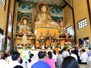 在老越南人举行新春祈福法会 祈求国泰民安 世界和平