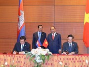 越柬陆地边界勘界立碑联合委员会主席会议在河内举行