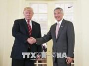 美朝历史性峰会:特朗普会见新加坡总理