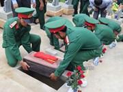 越南奠边省为在老挝牺牲的越南志愿军遗骸举行安葬仪式