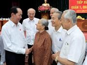 越南国家主席陈大光与胡志明市选民见面交流
