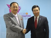 政府副总理兼外交部长范平明会见朝鲜外交部长李勇浩