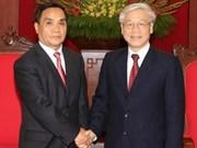 越南党国家领导人接见老挝总理