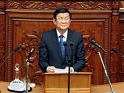 越南国家主席张晋创在日本国会发表演讲