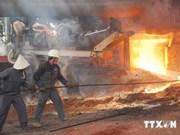 老街省越中钢铁生产厂首批钢材下线