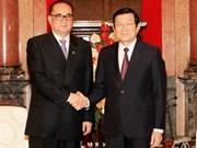越南国家主席张晋创会见朝鲜外务相李洙墉