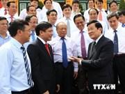 越南国家主席亲切会见越共中央企业党部代表团