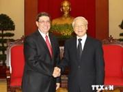 越共中央总书记会见来访的古巴外长