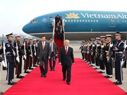 阮富仲总书记抵达韩国受到热烈欢迎