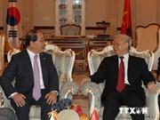 越共中央总书记阮富仲会见韩越友好协会代表团