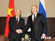 越共中央总书记阮富仲与俄罗斯总统普京举行会谈