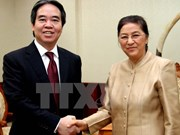 越南国家银行高级代表团访问老挝
