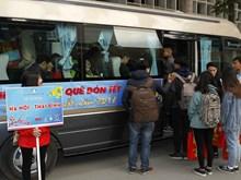 河内市:免费大巴接大学生回乡过年(组图)