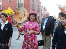 丰富多彩红火热闹的墨西哥街头艺术节中的越南奥黛(组图)