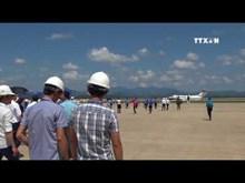 广宁省云屯国际航空港迎接首架飞机