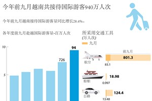 今年前九月越南接待国际游客量同比增长28.4%。