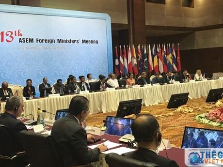 ASEM 各国外长同意加强致力于和平与可持续发展的伙伴关系